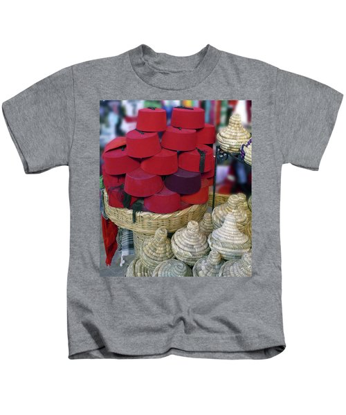Red Fez Tarbouche And White Wicker Tagine Cookers Kids T-Shirt