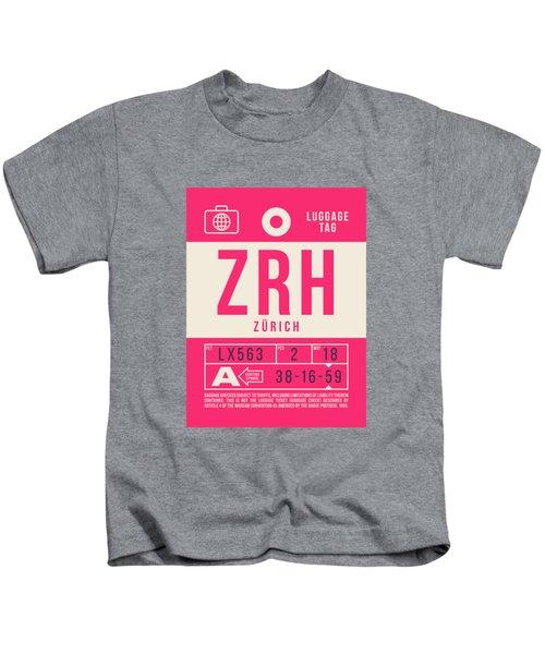 Retro Airline Luggage Tag 2.0 - Zrh Zurich International Airport Switzerland Kids T-Shirt