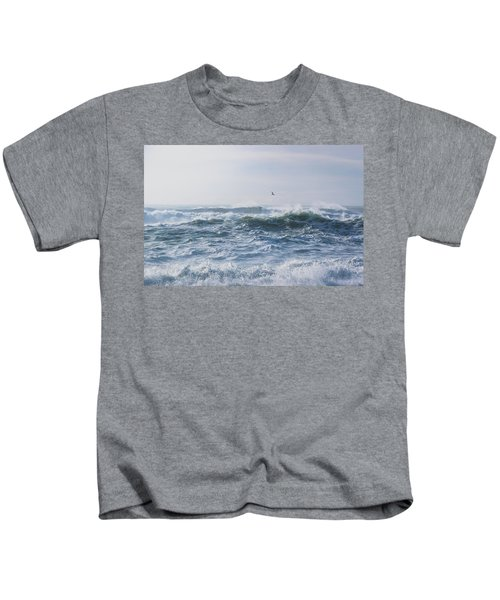 Reynisfjara Seagull Over Crashing Waves Kids T-Shirt