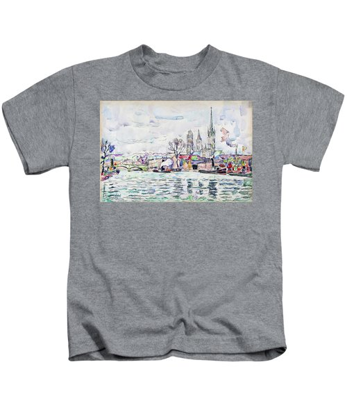 River Scene, Rouen - Digital Remastered Edition Kids T-Shirt