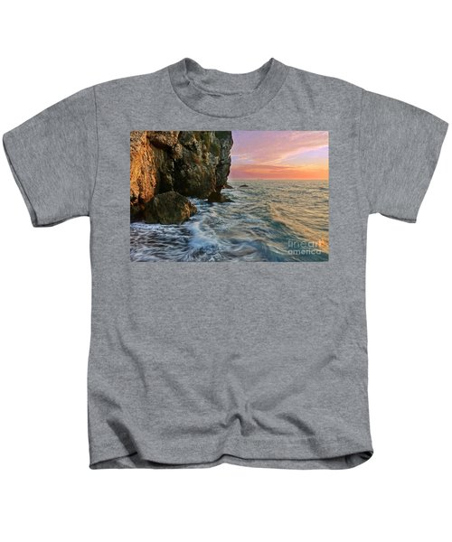 Rocky Cliffs And Waves During Sunset Kids T-Shirt