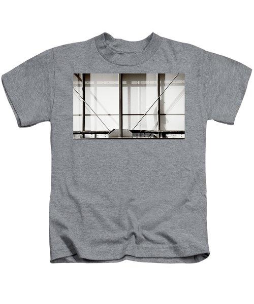 Silhouette Of Man On Glass Bridge Kids T-Shirt