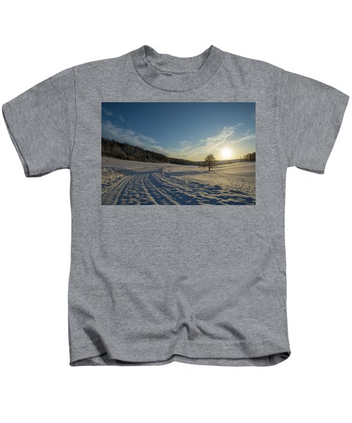 Snow And Sunset Kids T-Shirt