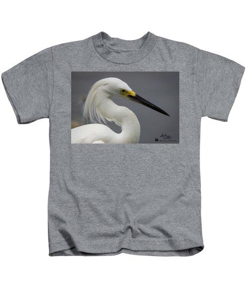 Snow Egret Portrait Kids T-Shirt