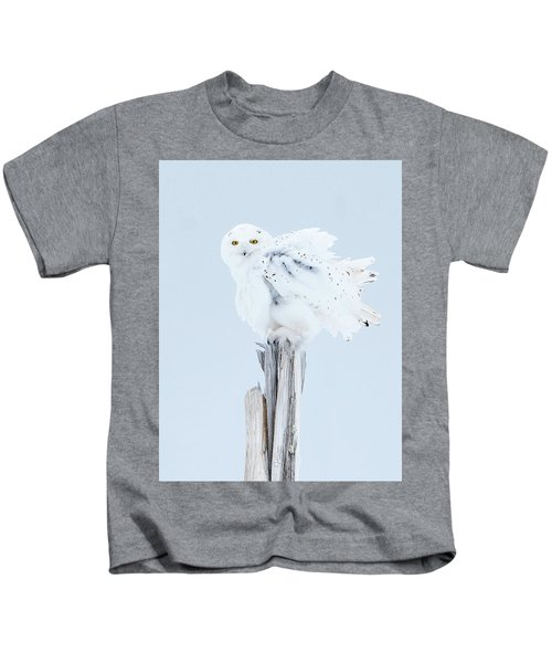 Snowy Owl Feather Shake Kids T-Shirt