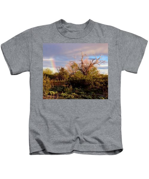 Kids T-Shirt featuring the photograph Sonoran Desert Spring Rainbow by Judy Kennedy