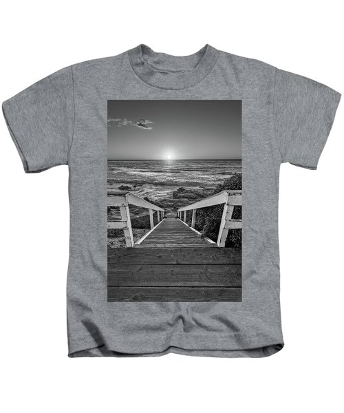 Steps To The Sun  Black And White Kids T-Shirt