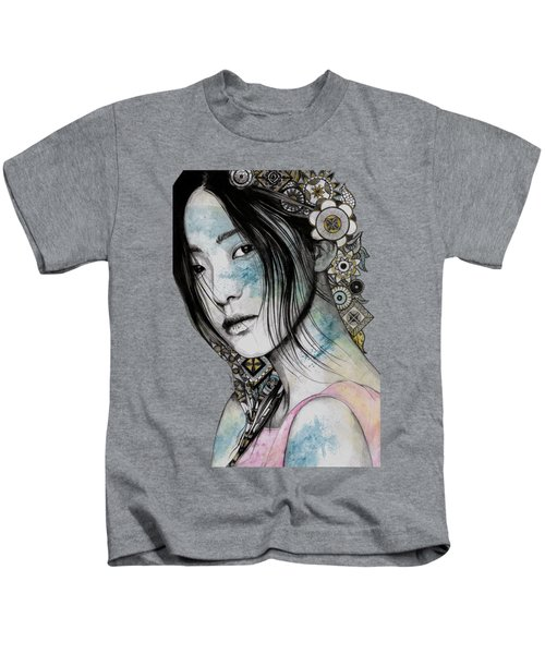Stoic - Asian Girl Street Art Portrait With Mandala Doodles Kids T-Shirt