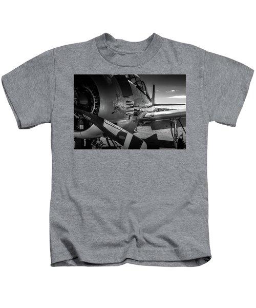 T-28b Trojan In Bw Kids T-Shirt