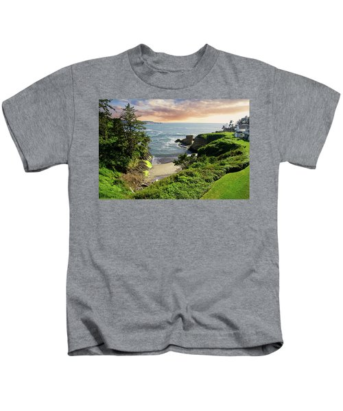 Tall Conifer Above Protected Small Cov Kids T-Shirt