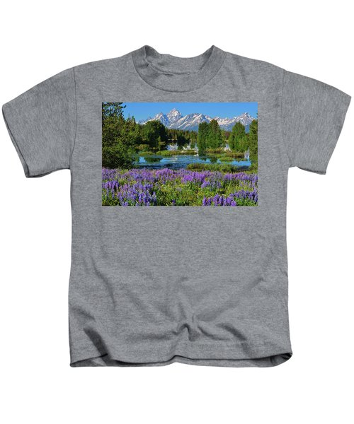 Tetons And Lupines Kids T-Shirt