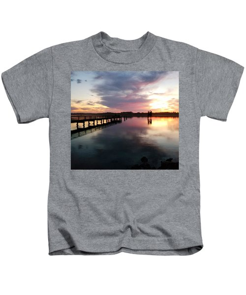 The Hollering Place Pier At Sunset Kids T-Shirt