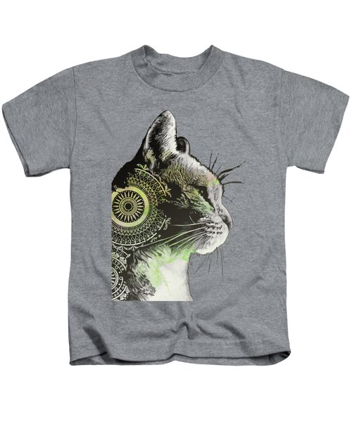 Tides Of Tomorrow - Lime - Mandala Cat Drawing Kids T-Shirt
