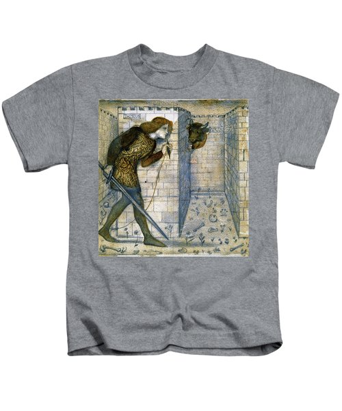 Tile Design - Theseus And The Minotaur In The Labyrinth Kids T-Shirt