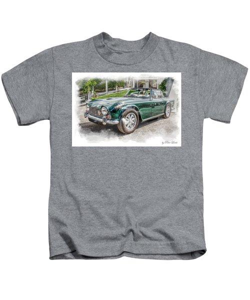 Triumph Tr5 At Roman Gardens Kids T-Shirt