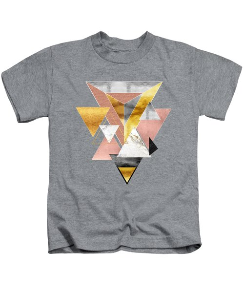Triangulation Minimalist Abstract Marble And Metal Geometric Art Kids T-Shirt