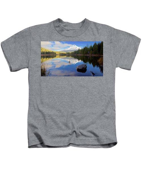 Trillium Lake November Morning Kids T-Shirt