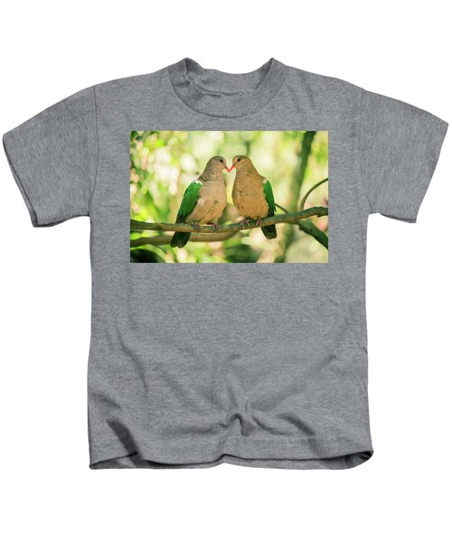 Two Colourful Doves Resting Outside On A Branch. Kids T-Shirt