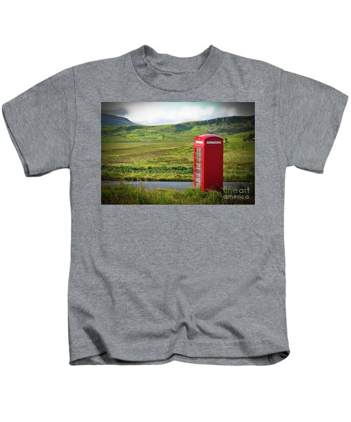 Typical Red English Telephone Box In A Rural Area Near A Road. Kids T-Shirt