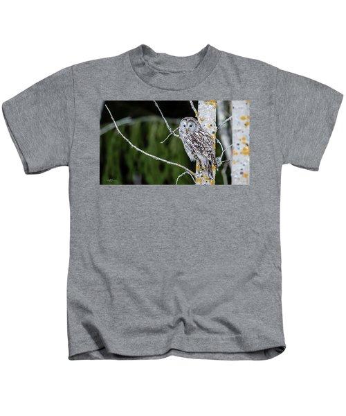 Ural Owl Perching On An Aspen Twig Kids T-Shirt