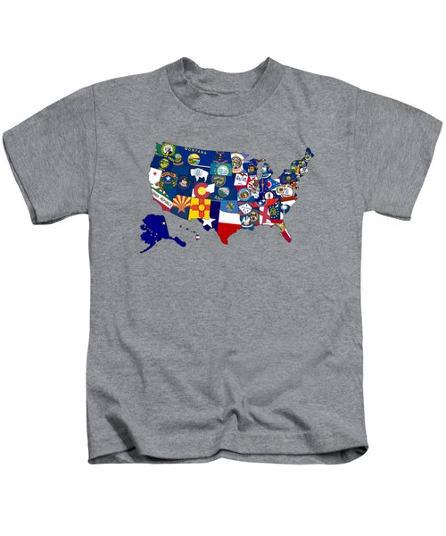 Usa States Flags Map Kids T-Shirt