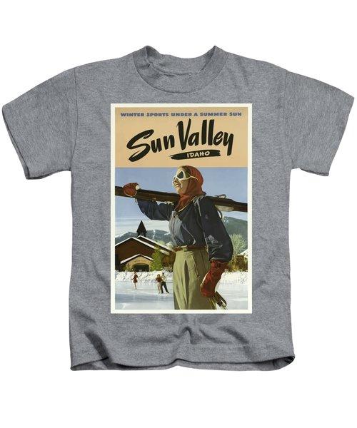 Vintage Travel Poster - Sun Valley, Idaho Kids T-Shirt