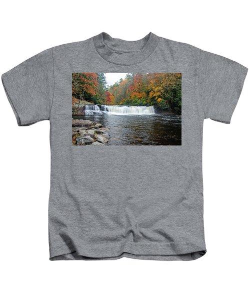 Waterfall In Autumn Kids T-Shirt