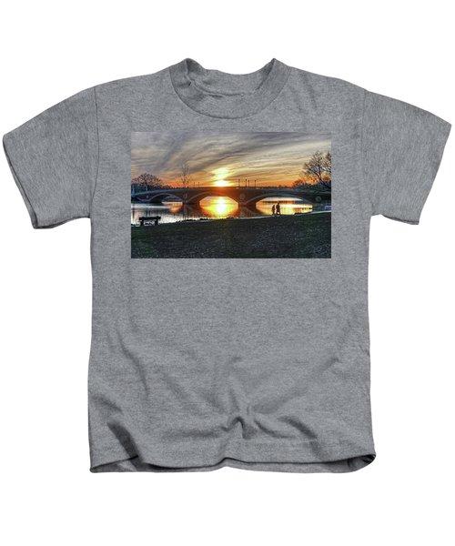 Weeks Bridge At Sunset Kids T-Shirt
