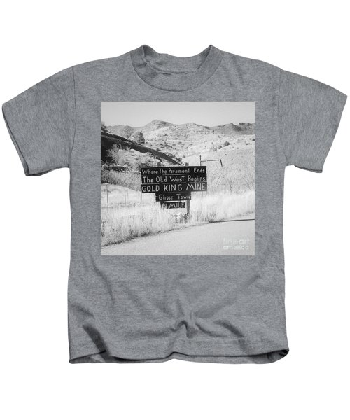 Where The Pavement Ends The Old West Begins Kids T-Shirt