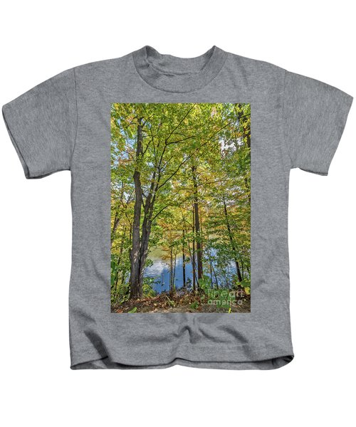 White Clouds Reflected In Rippling Water Kids T-Shirt