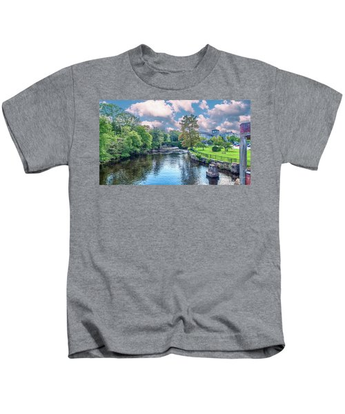 Willimantic River With Clouds Kids T-Shirt