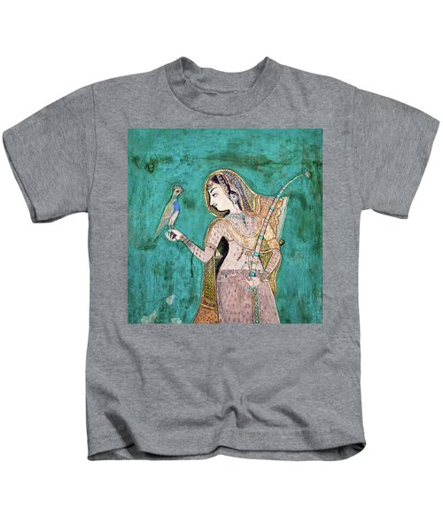 Woman With Parrot Kids T-Shirt