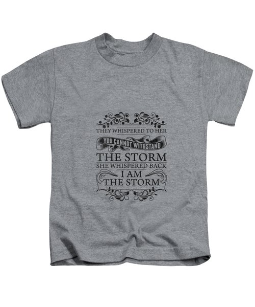 Womens She Whispered Back I Am The Storm Womens Motivational V-neck T-shirt Kids T-Shirt