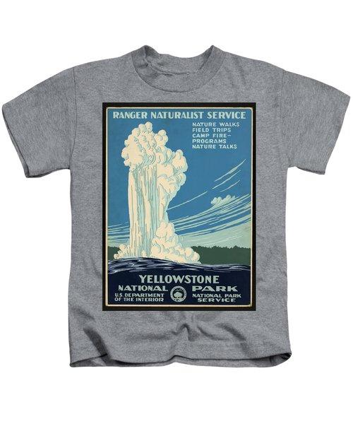 Yellowstone National Park, Ranger Naturalist Service Vintage Pos Kids T-Shirt