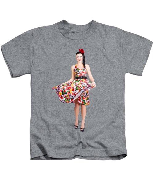 Young Beautiful Dancer Posing On Tan Background Kids T-Shirt