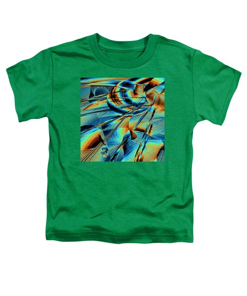Toddler T-Shirt featuring the digital art Blue Flowpaper Solarized by Joy McKenzie