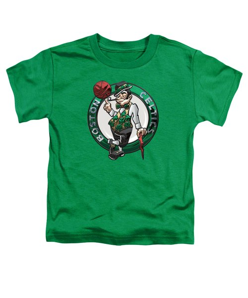 Boston Celtics - 3 D Badge Over Flag Toddler T-Shirt by Serge Averbukh