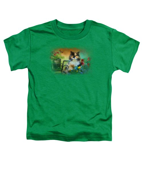 Calico In The Garden Toddler T-Shirt by Jai Johnson