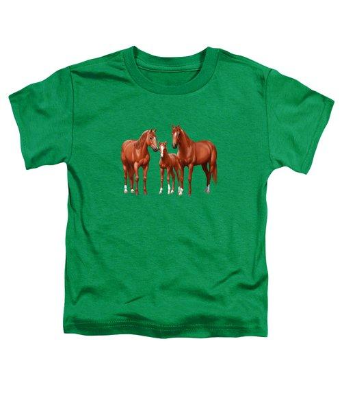 Chestnut Horses In Winter Pasture Toddler T-Shirt