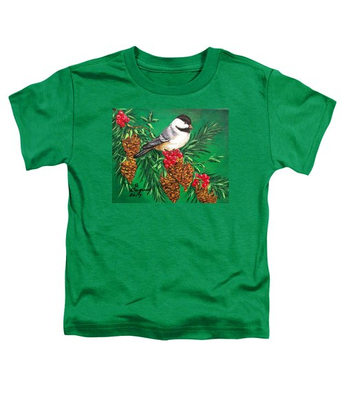 Chickadee And Pine Cones Toddler T-Shirt