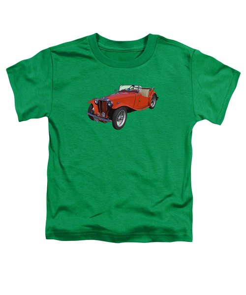 Classic Red Mg Tc Convertible British Sports Car Toddler T-Shirt