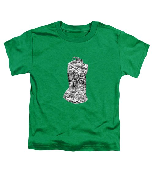 Crushed Silver Light Beer Can On Plywood 80 In Bw Toddler T-Shirt