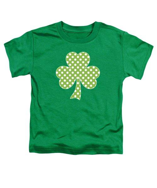 Greenery Shamrock Clover Polka Dots St. Patrick's Day Toddler T-Shirt