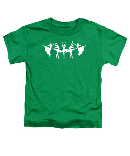 Passionate Dance White Ballerinas Silhouettes Toddler T-Shirt