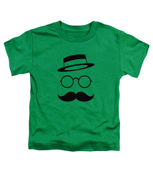 Retro Minimal Vintage Face With Moustache And Glasses Toddler T-Shirt