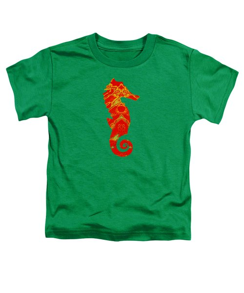 Seahorse Turquoise And Orange Right Facing Toddler T-Shirt
