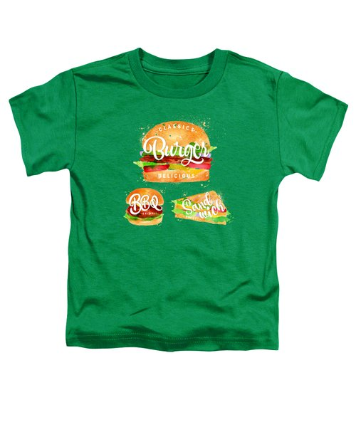 Vintage Burger Toddler T-Shirt by Aloke Creative Store