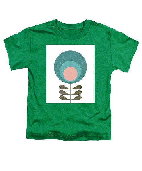 Mid Century Modern Teal Flower I Toddler T-Shirt
