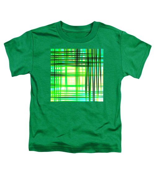 Abstract Design With Lines Squares In Green Color Waves - Pl409 Toddler T-Shirt