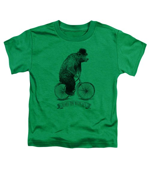 Bears On Bicycles - Lime Toddler T-Shirt